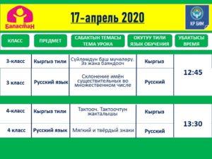 ТЕЛЕКАНАЛДАРДАН КЕТЧҮ ВИДЕОСАБАКТАРДЫН ЖАДЫБАЛЫ. 13-18-АПРЕЛЬ