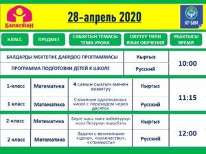 ТЕЛЕСАБАКТАРДЫН ЖАДЫБАЛЫ. 27-30-АПРЕЛЬ