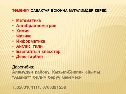 """""""АМАНАТ"""" МЕКТЕБИНЕ МУГАЛИМДЕР КЕРЕК"""